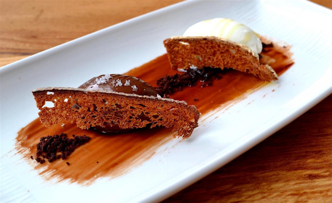 dark chocolate cremeux, vanilla salt, olive oil ice cream and sourdough toast