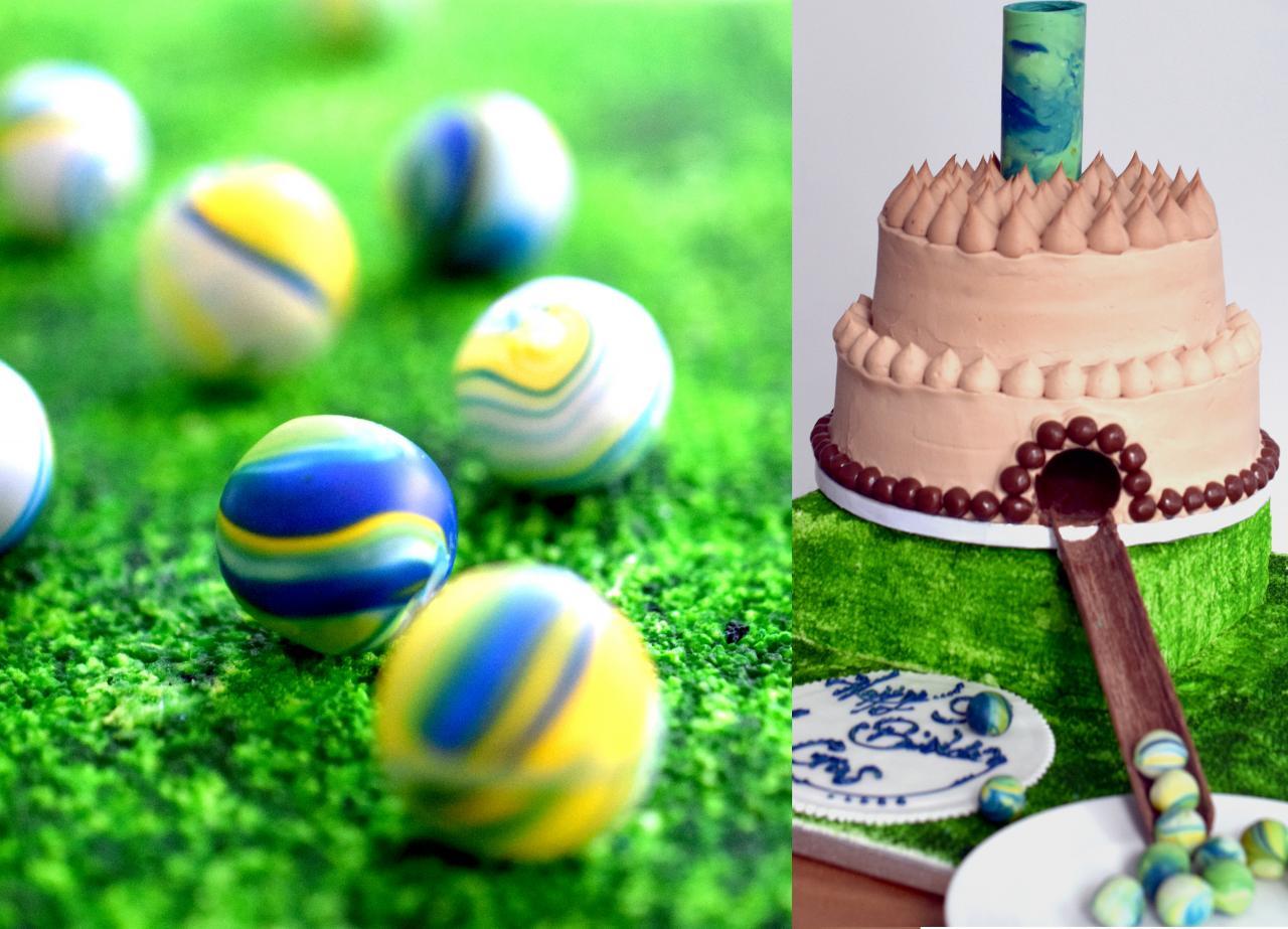 Marbles with run cake by Hideko Kawa