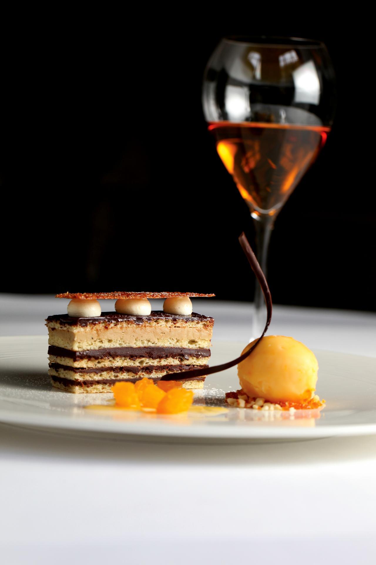Opera cake with blood orange sorbet by Gary Hunter