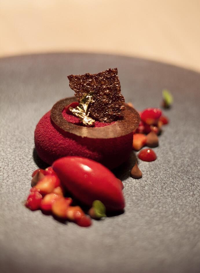 Strawberry, soy and chocolate jasmine mousse. Photo: Pavlova & Cream