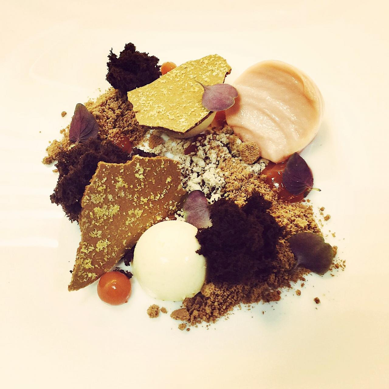 Chocolate cremeaux, peanut butter parfait Green mandarin sorbet  Chocolate mélilot soil (sweet clover), dehydrated chocolate, chocolate powder