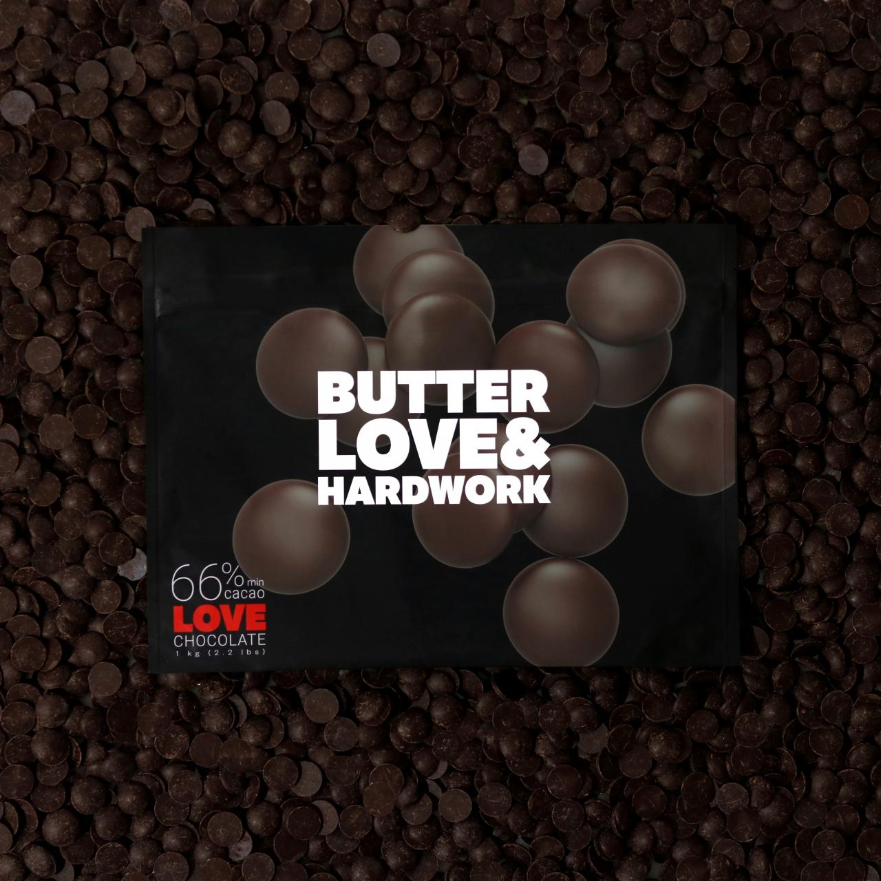 Butter Love & Hard Work Love 66% Dark Chocolate from the Or Noir Laboratory